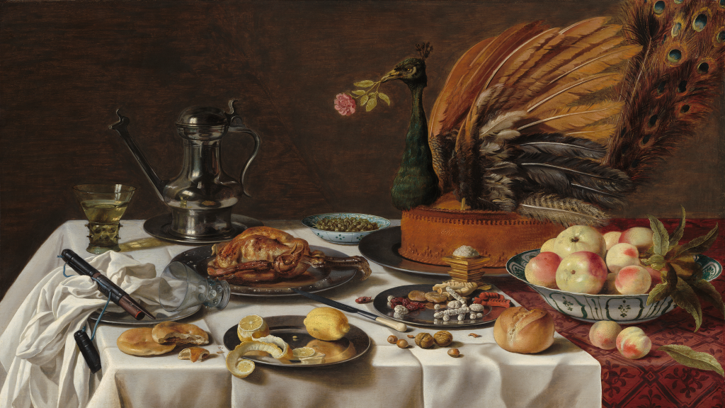 Still Life with Peacock Pie by Pieter Claesz