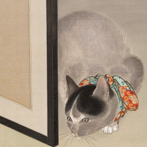 Cat Watching a Spider by Ōide Tōkō