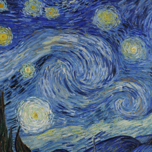 The Starry Night (horizontal detail) by Vincent van Gogh