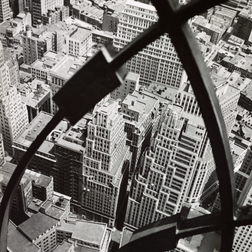 City Arabesque, from roof of 60 Wall Tower, Manhattan by Berenice Abbott