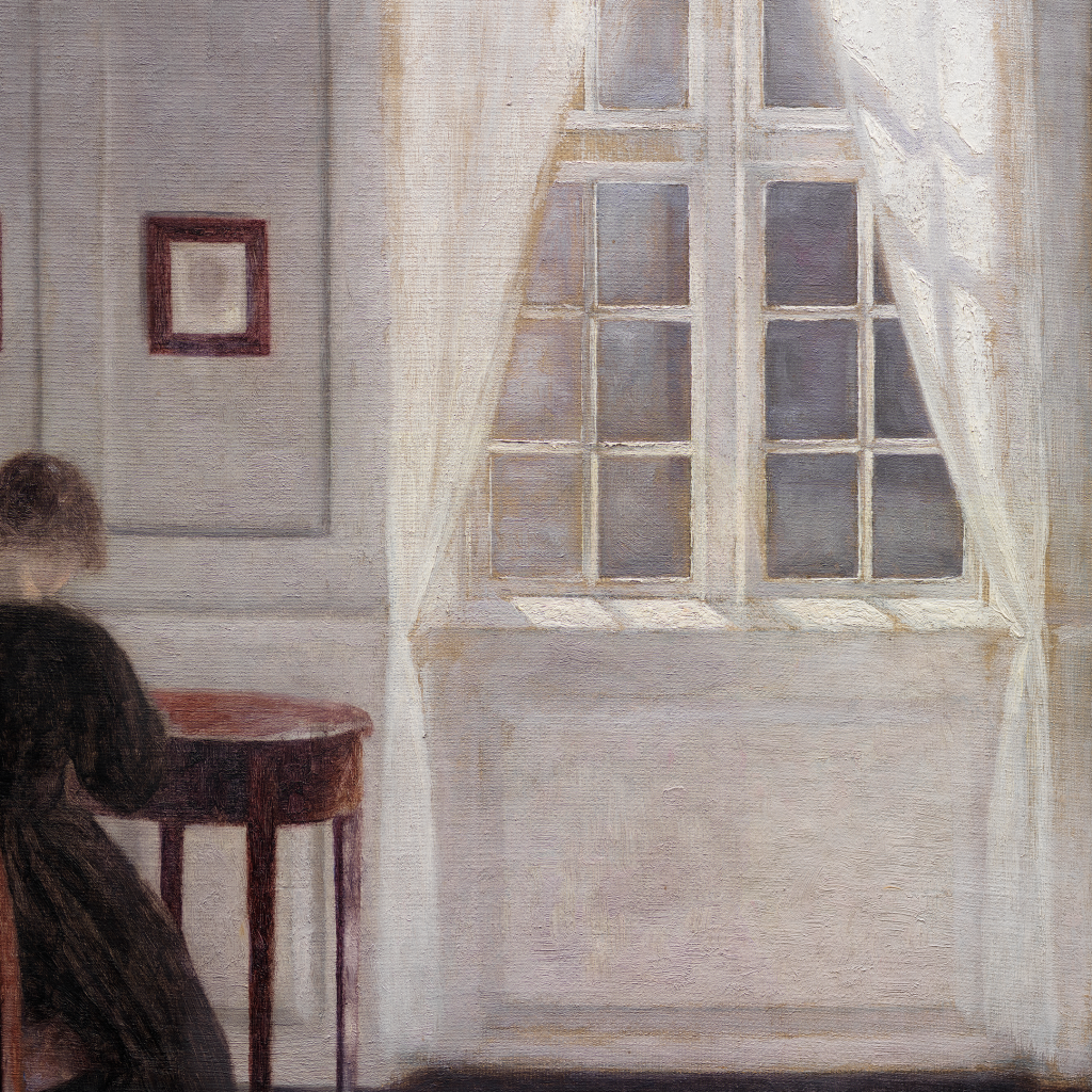 A Room in the Artist's Home in Strandgade, Copenhagen, with the Artist's Wife by Vilhelm Hammershøi