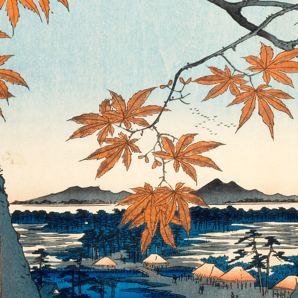 Maple Trees at Mama, Tekona Shrine and Linked Bridge [from series: One Hundred Famous Views of Edo] by undefined