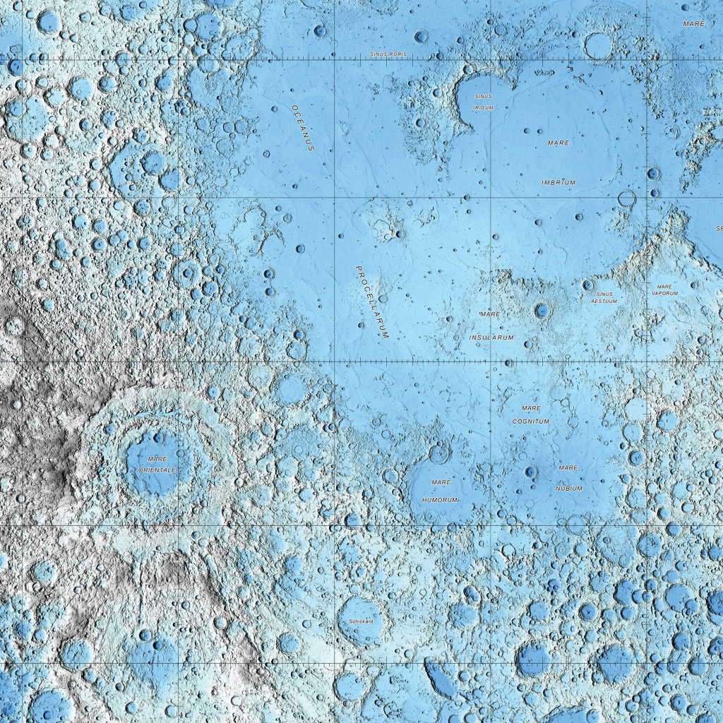 Topo Map of the Moon by U.S. Geological Survey