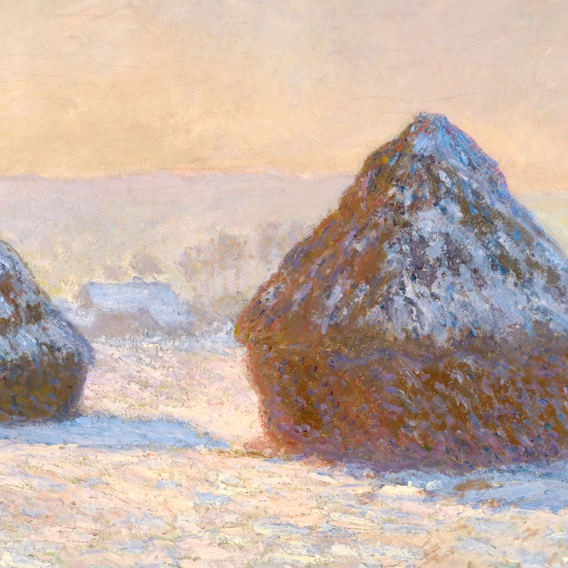 Wheatstacks, Snow Effect, Morning by Claude Monet