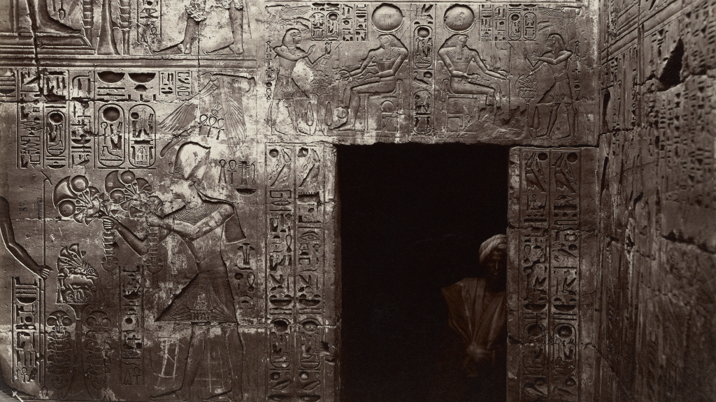 Reliefs in the Temple of Amon, Karnak by Félix Bonfils