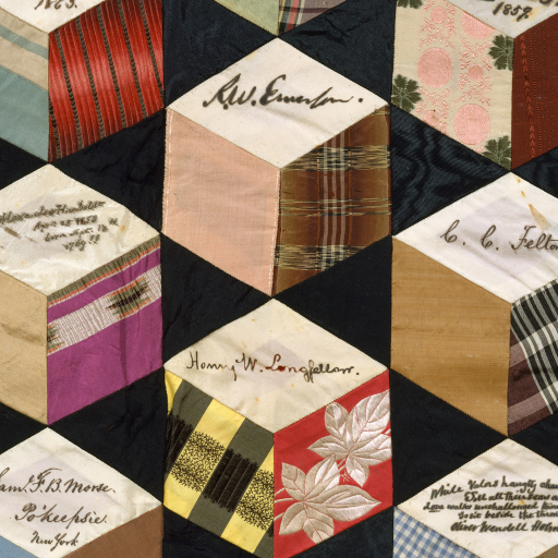 Quilt, Tumbling Blocks with Signatures pattern [detail] by Adeline Harris Sears