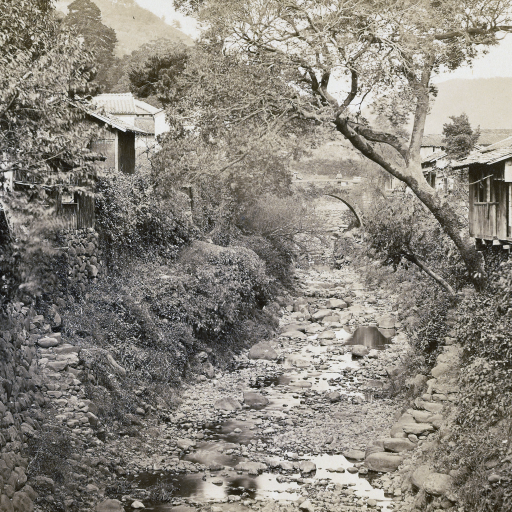 Japanese Village with Stream by undefined