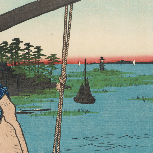 Haneda Ferry and Benten Shrine [from series: 100 Famous Views of Edo] by Utagawa Hiroshige