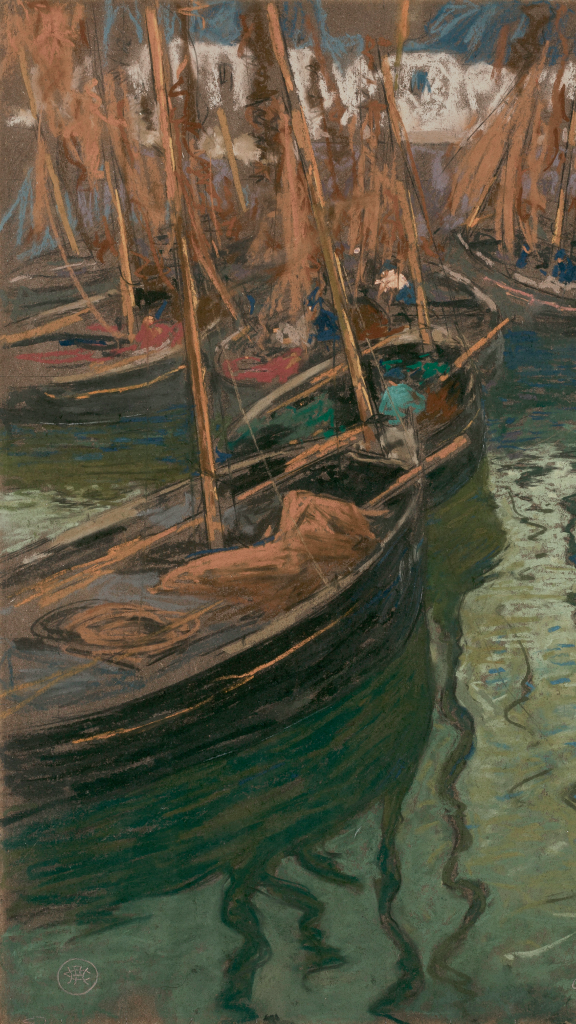 A Dock Harmony-Fishing Boats by Charles Fromuth