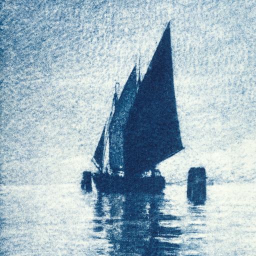 Moored Sailboat by Heinrich Kühn