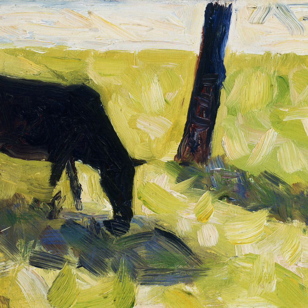 Black Cow in a Meadow by Georges Seurat