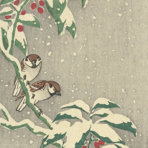 Sparrows on a Nandin Bush by Ohara Koson