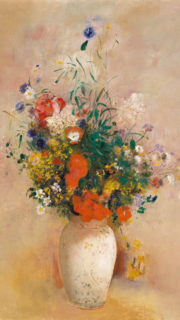Vase of Flowers (Pink Background) by Odilon Redon