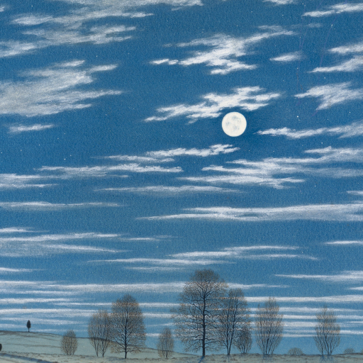 Winter Scene in Moonlight by undefined