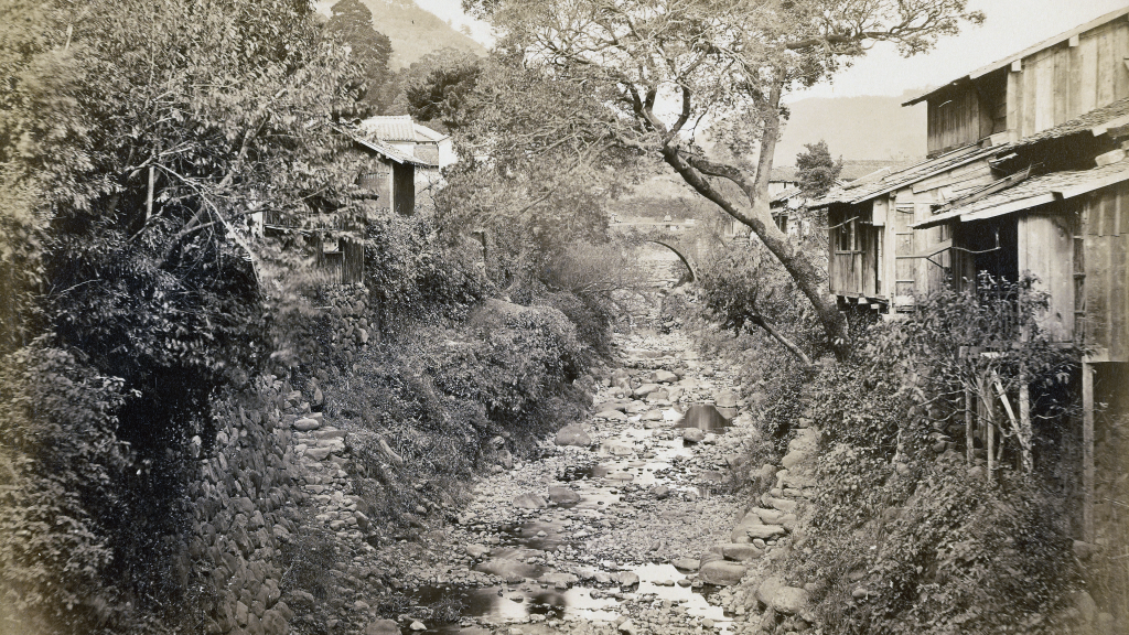 Japanese Village with Stream by Felice Beato