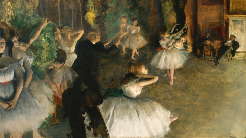 The Rehearsal of the Ballet Onstage by Edgar Degas