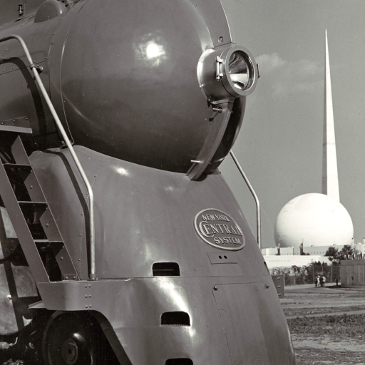 [Locomotive, with Entrance to Perisphere of 1939 New York World's Fair in Background] by undefined