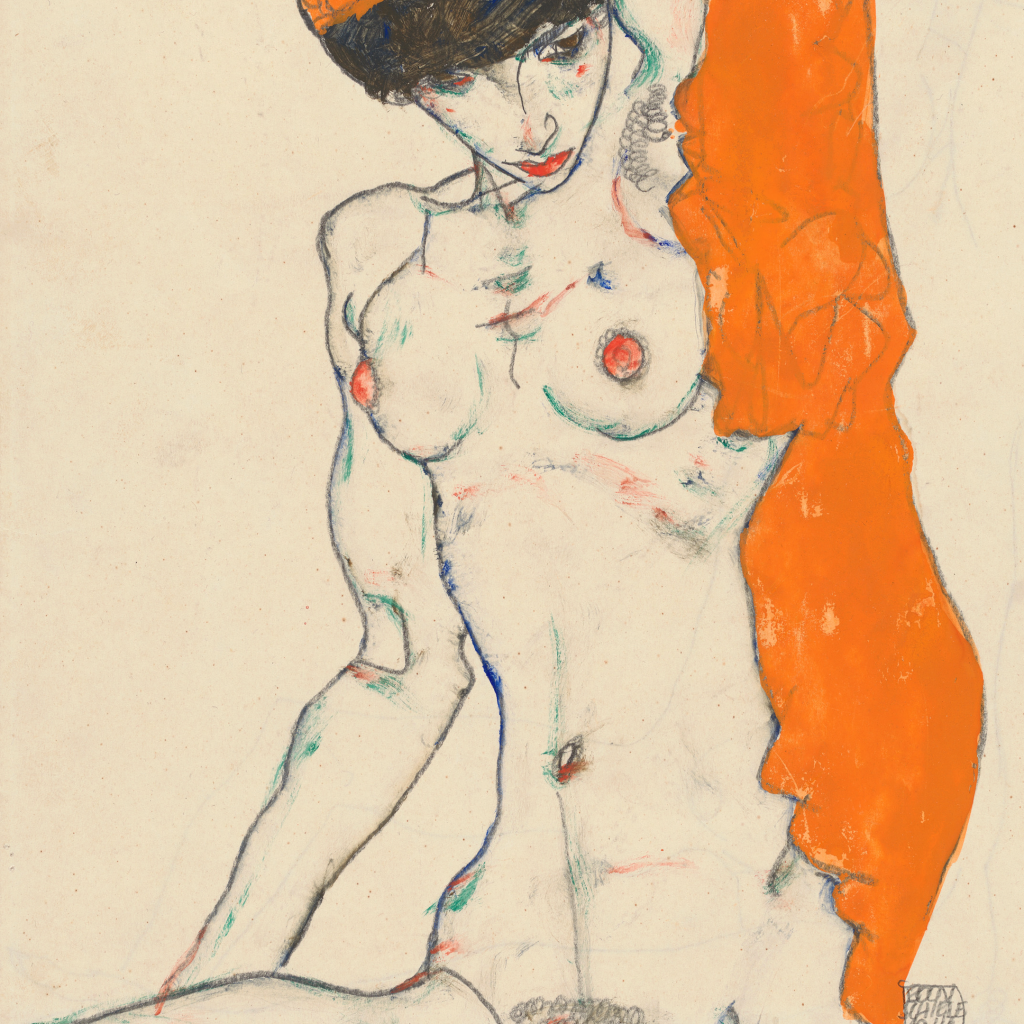 Standing Nude with Orange Drapery by undefined
