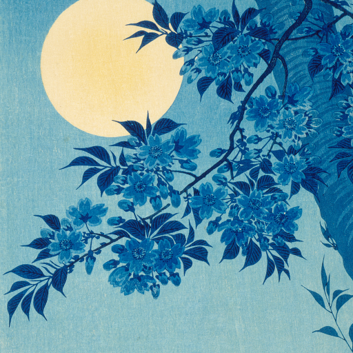 Blossoming Cherry on a Moonlit Night by Ohara Koson