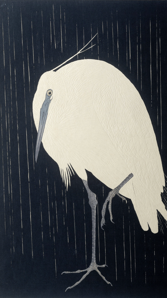 Egret In The Rain by Ohara Koson
